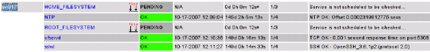 Part of Nagios' Service Detail page. This shows two passive services for which MonAMI will provide data.